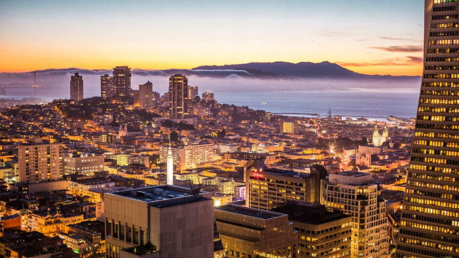 San Francisco Bay Area Beautiful Sunset Evening Cityscape