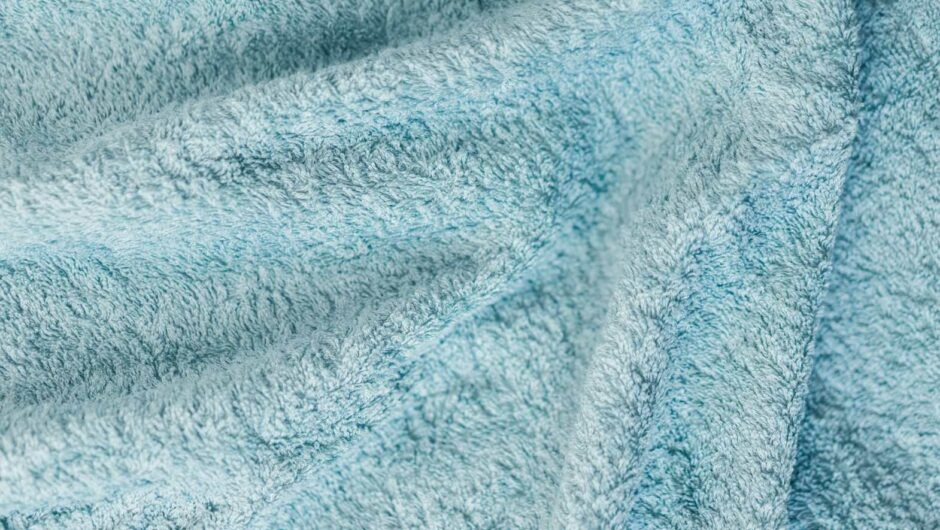 Soft Cotton Blue Towel Close Up Background